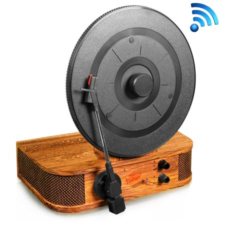 PYLE PLTT21BT - Classic Vintage Style Bluetooth Turntable - Vertical/Standing Record Player Speaker System