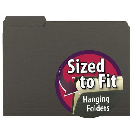 Smead Interior File Folder, 1/3-Cut Tab, Letter Size, Black, 100 per Box (10243)