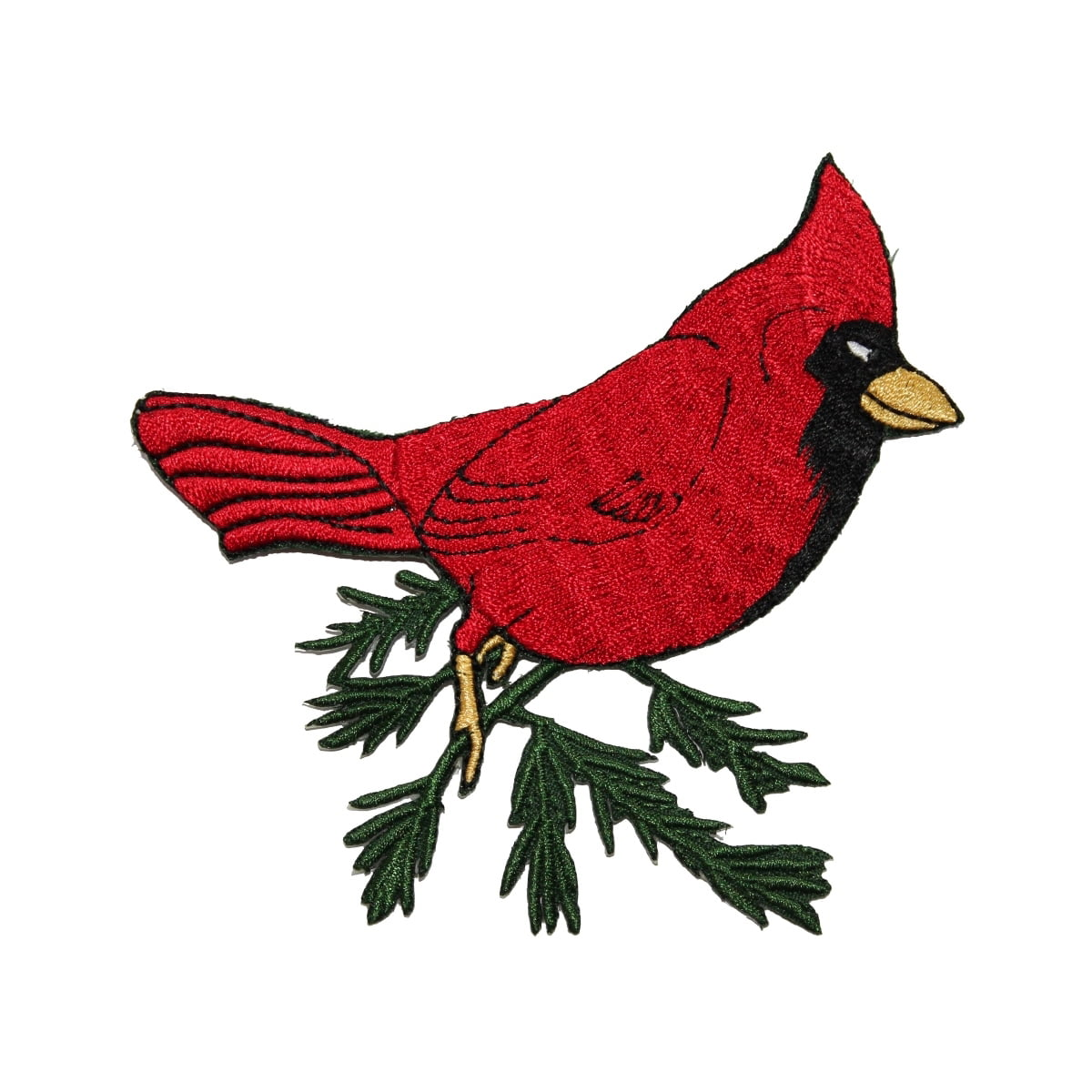 Small Red Male Cardinal//Bird Facing Left Iron on Applique//Embroidered Patch