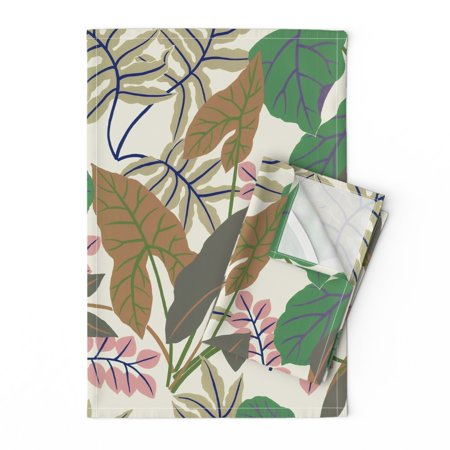 Lush Greenhouse Palm House Amazon Linen Cotton Tea Towels by Roostery Set of 2 ()