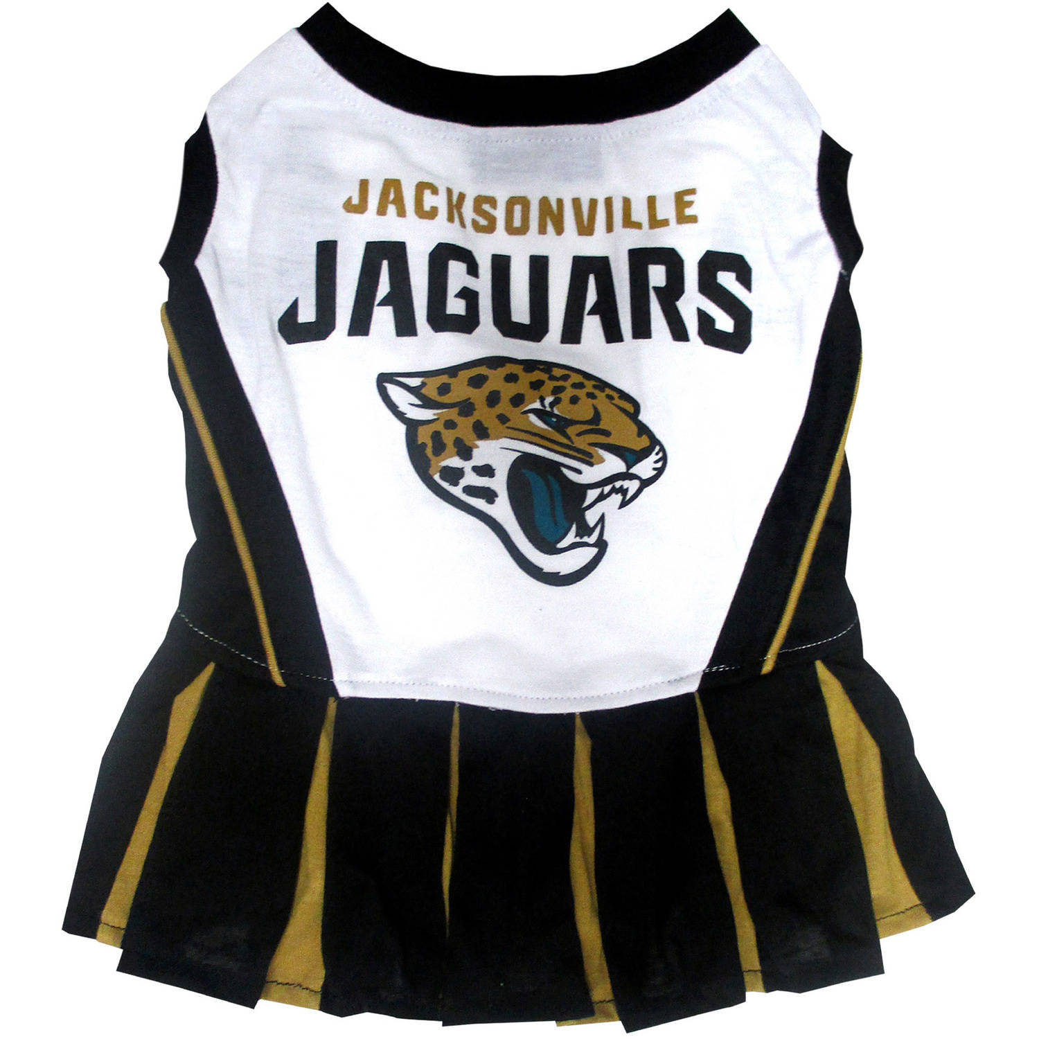 Pets First NFL Jacksonville Jaguars Cheerleader, 3 Sizes Pet Dress Available. Licensed Dog Outfit