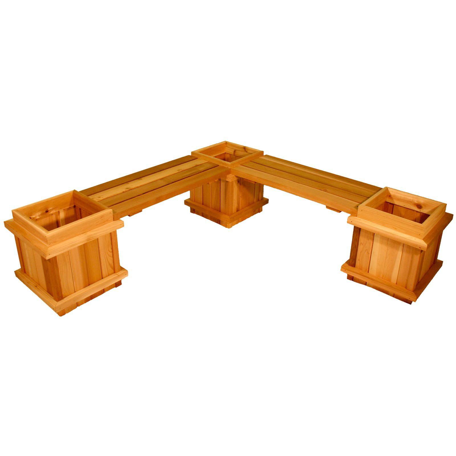 Square Cedar Wood 5-Piece Planter Bench Set by Aquila Cedar Products Ltd
