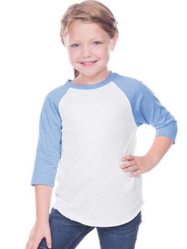 Kavio TJP0660 Toddlers Jersey Contrast Raglan 3/4 Sleeve-White / Azure-2T