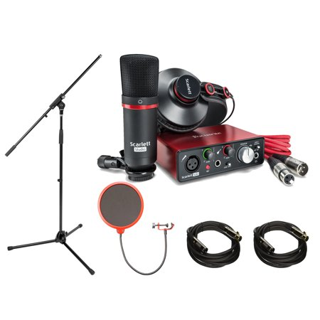 Focusrite Scarlett Solo Studio Pack 2nd Gen & Recording Bundle w/ Pro Tools includes 2 XLR Cables, Microphone Stand and Wind