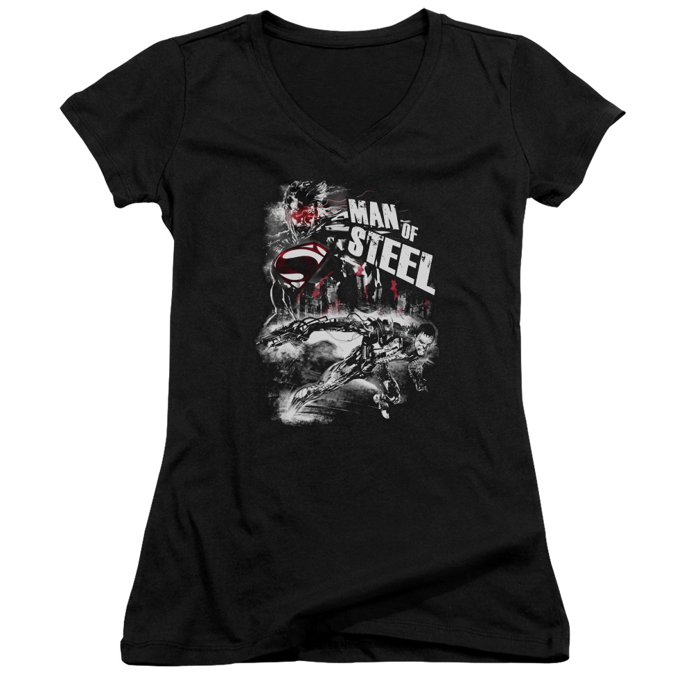 Man Of Steel Superman Movie Scratchy Steel Junior V-Neck T-Shirt Tee