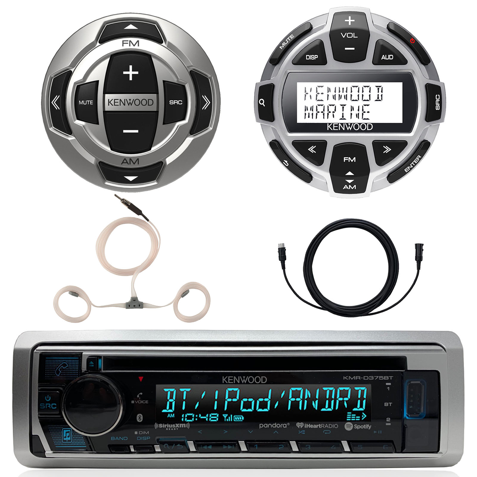 """Kenwood Marine Motorsports Boat Yacht In-Dash Single DIN CD Bluetooth UBS AUX Receiver, Kenwood Digital LCD Display Wired Remote, Kenwood Wired Remote, 22"""" AM/FM Antenna, 7 Meter 22 Ft Extension"""