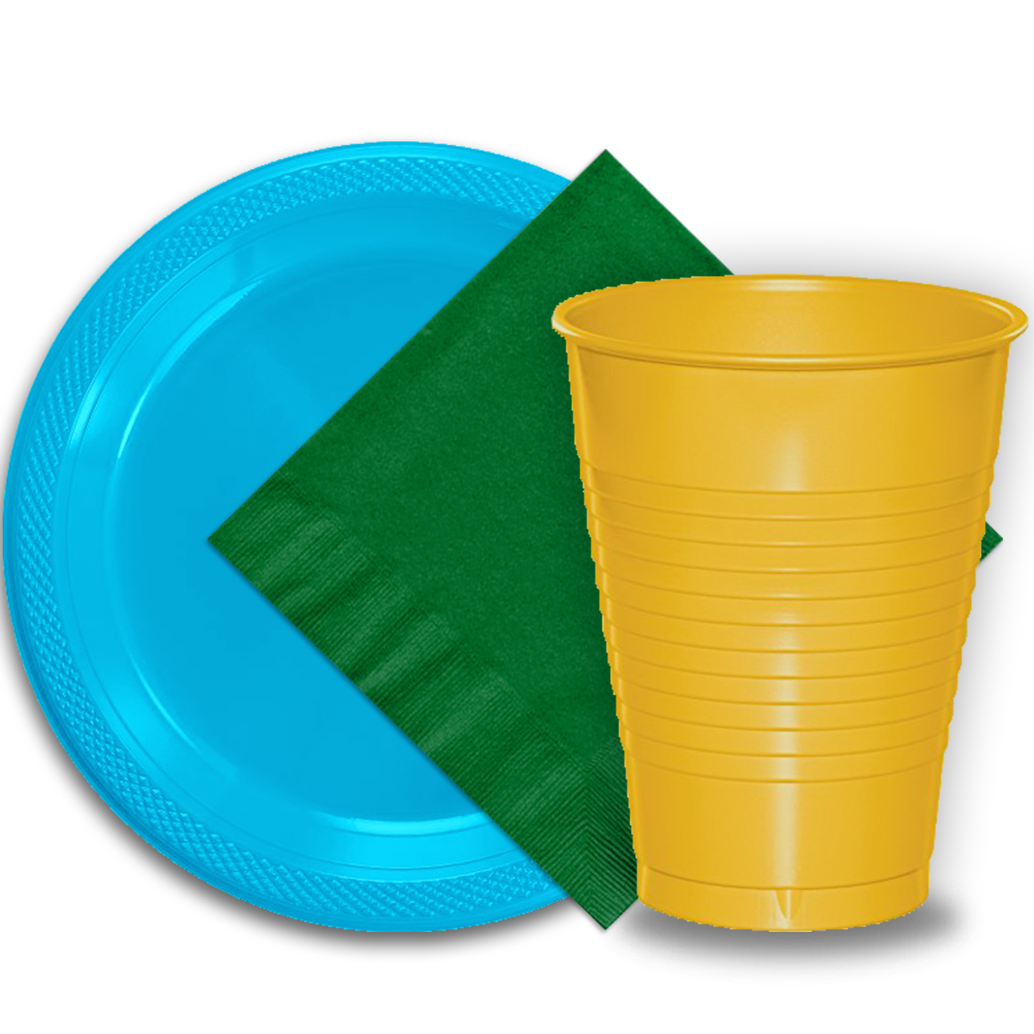 """50 Aqua Plastic Plates (9""""), 50 Yellow Plastic Cups (12 oz.), and 50 Emerald Green Paper Napkins, Dazzelling Colored Disposable Party Supplies Tableware Set for Fifty Guests."""