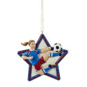 """4"""" RESIN GIRL SOCCER STAR Ornament"""