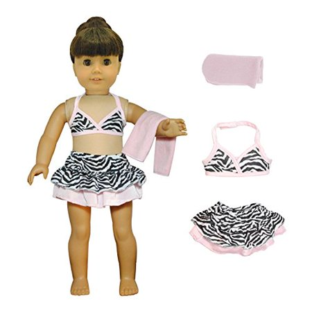 Pink Butterfly Closet Doll Clothes - 3 Pieces Bikini Swimsuit (Skit, Top and Beach Blanket) Set Fits American Girl Doll and 18 inch Dolls - - image 1 of 4