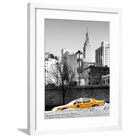 NYC Yellow Taxi Buried in Snow near the Empire State Building in Manhattan Framed Print Wall Art By Philippe