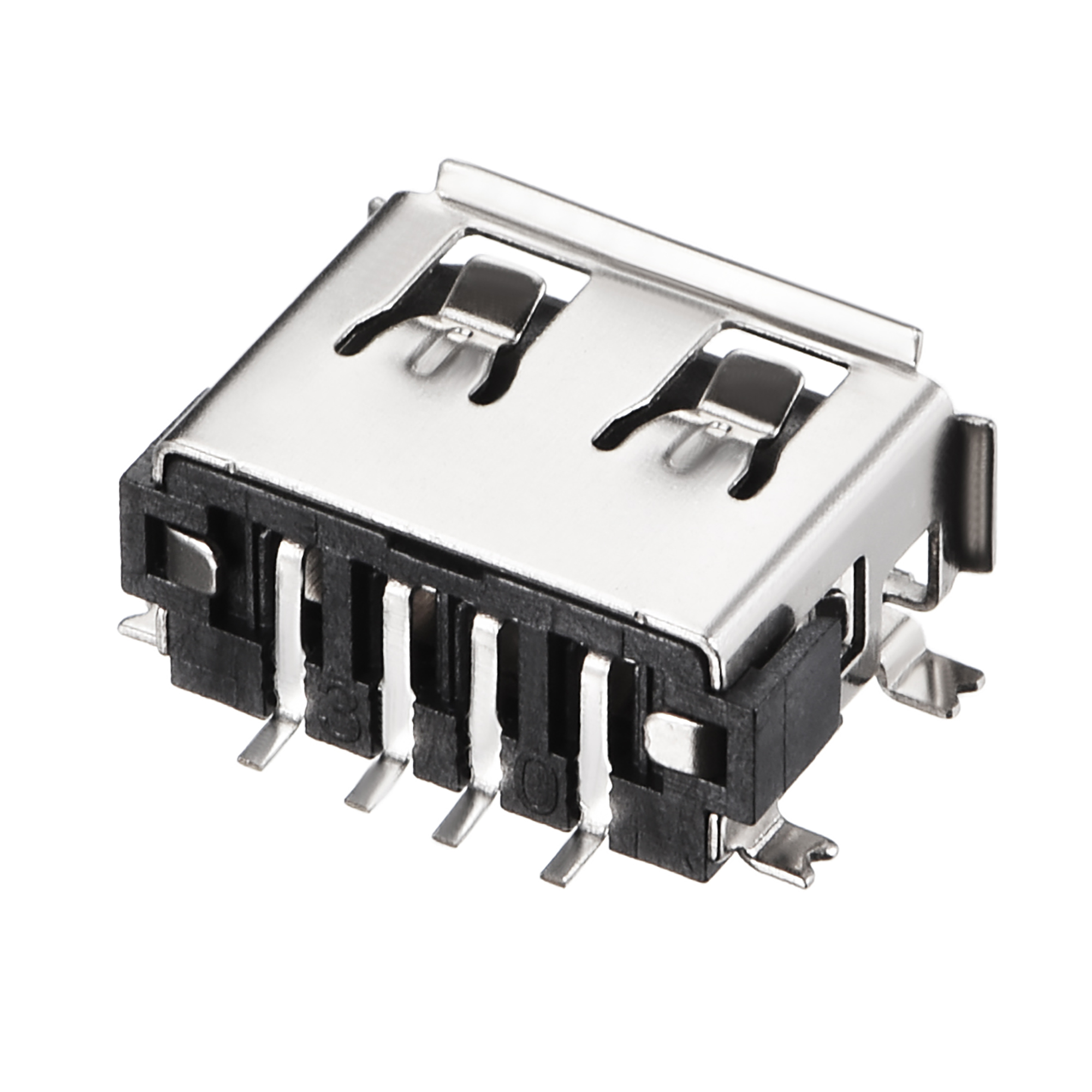 PCB USB Connector 2.0 A Type 4P 10mm Short Body SMT SMD 10pcs - image 1 of 4