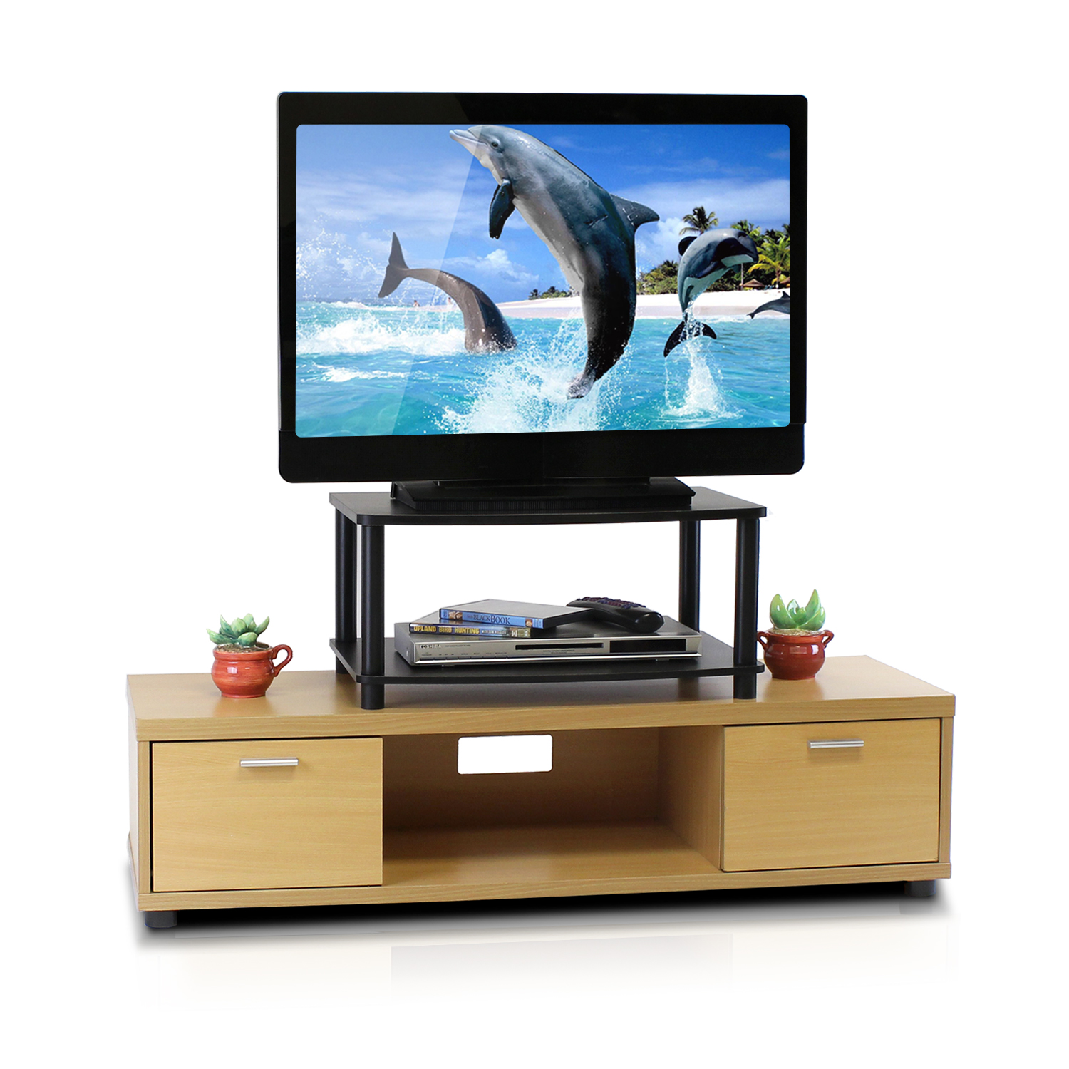 Furinno 13191 Turn-N-Tube No Tools 2-Tier Elevated TV Stands