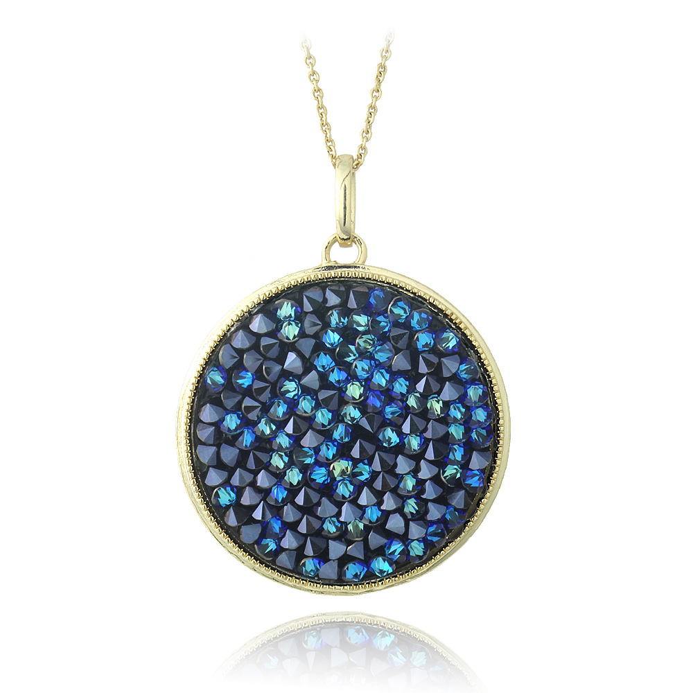 Gold Tone Bermuda Blue Crystal Rocks Necklace Made with Swarovski Elements