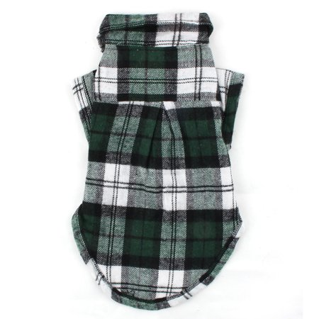 Pet Dog Cat Cotton Blend Plaid Pattern T-Shirt Lapel Vest Clothes Green Size M - Cat Halloween Costume Pattern