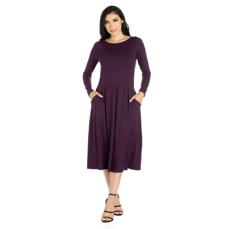 24seven Comfort Apparel Long Sleeve Fit and Flare Midi