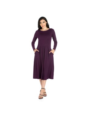 34a04da6a6c711 Product Image 24seven Comfort Apparel Long Sleeve Fit and Flare Midi Dress
