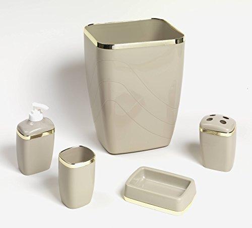 Royal Bath 5-Piece Plastic Bath Accessory Set (Linen Gold) by