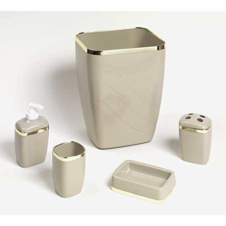 royal bath 5 piece plastic bath accessory set linen gold. Black Bedroom Furniture Sets. Home Design Ideas