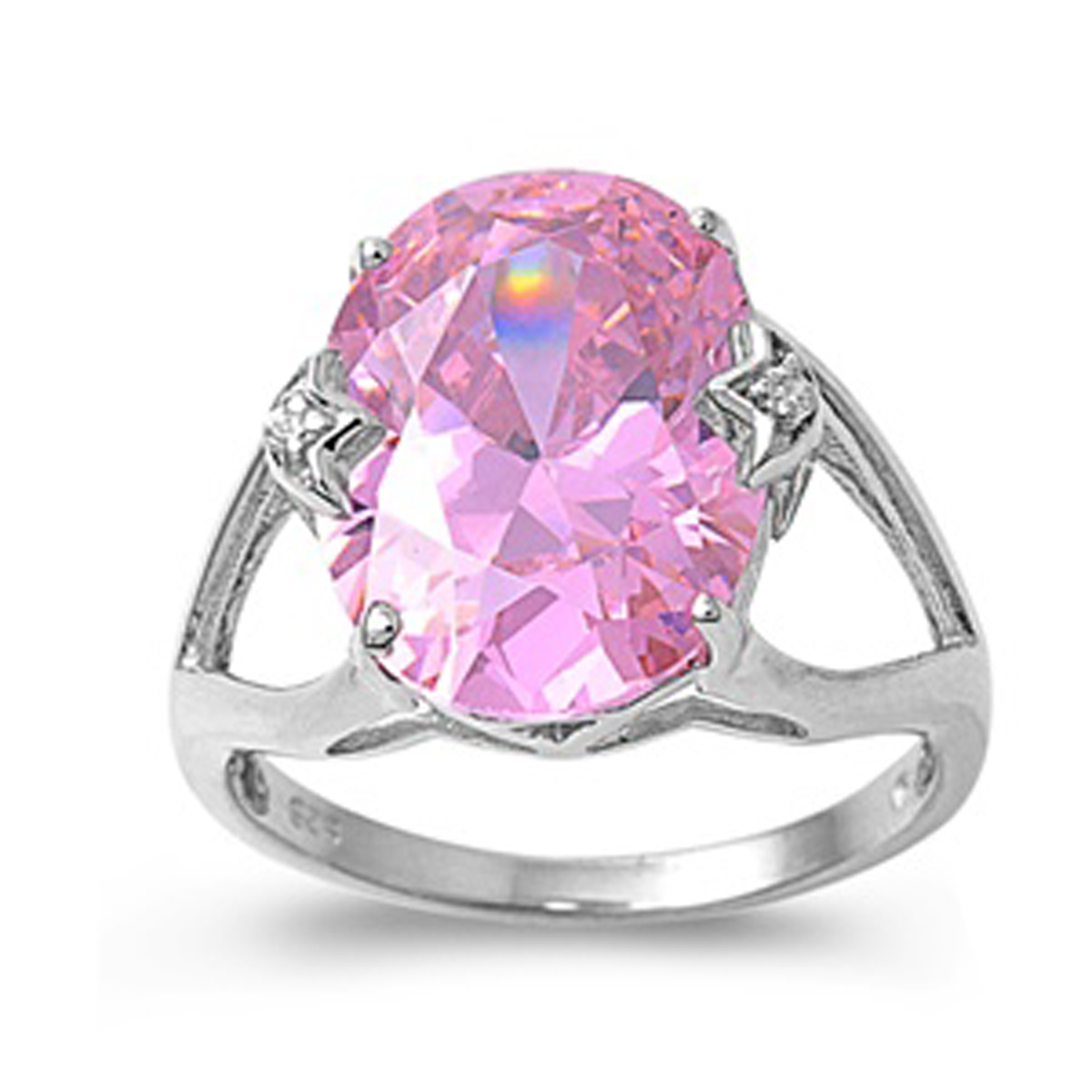 Sterling Silver Women's Flawless Pink Cubic Zirconia Large Solitaire Ring (Sizes 5-10) (Ring Size 9)