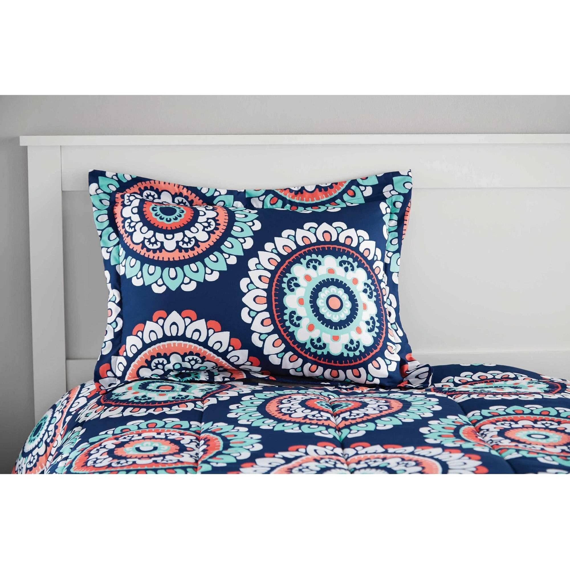 turquoise navy pillow coral watercolor product sm pillows cover moroccan tribal and throw medallion