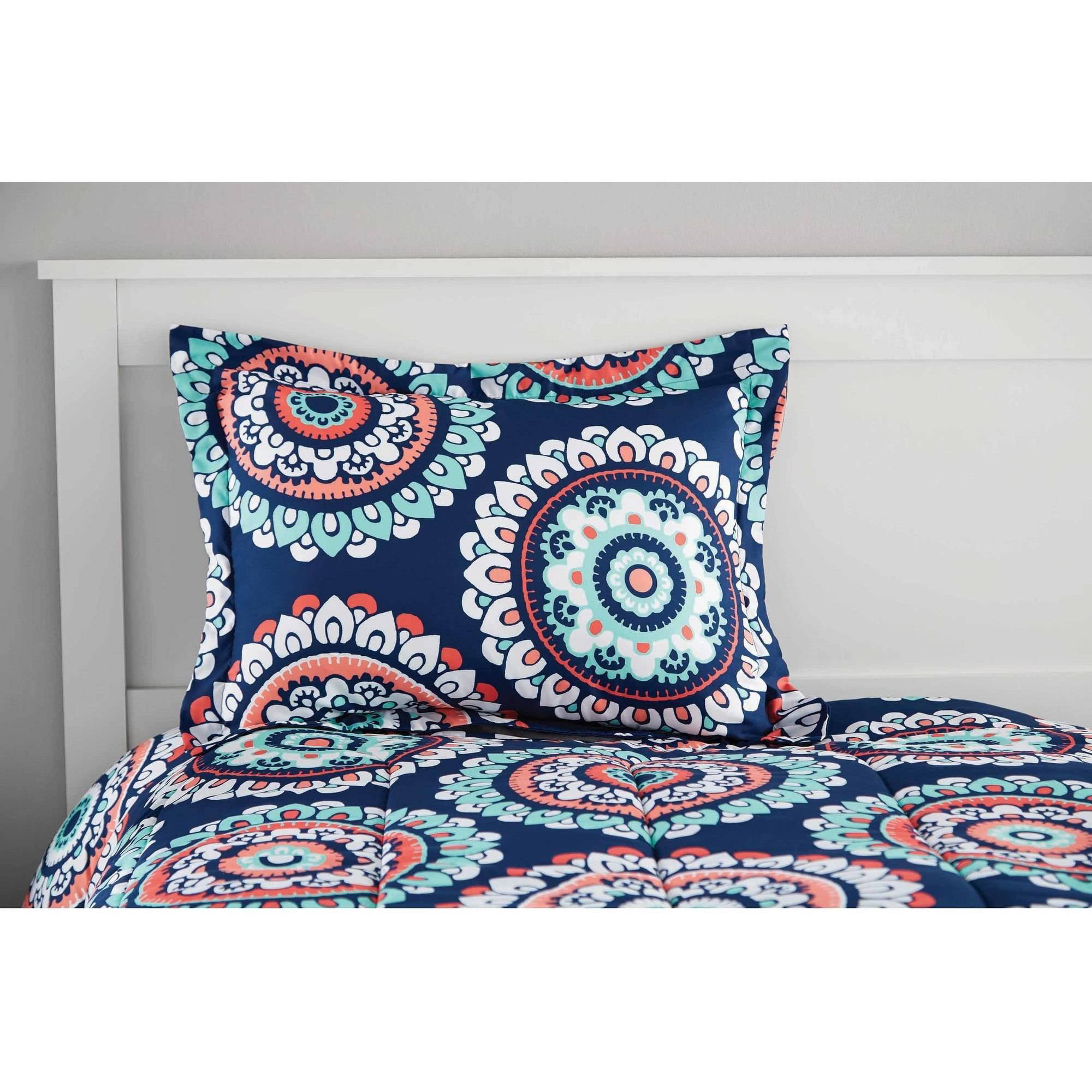 Mainstays Navy Medallion Bed In A Bag Walmart