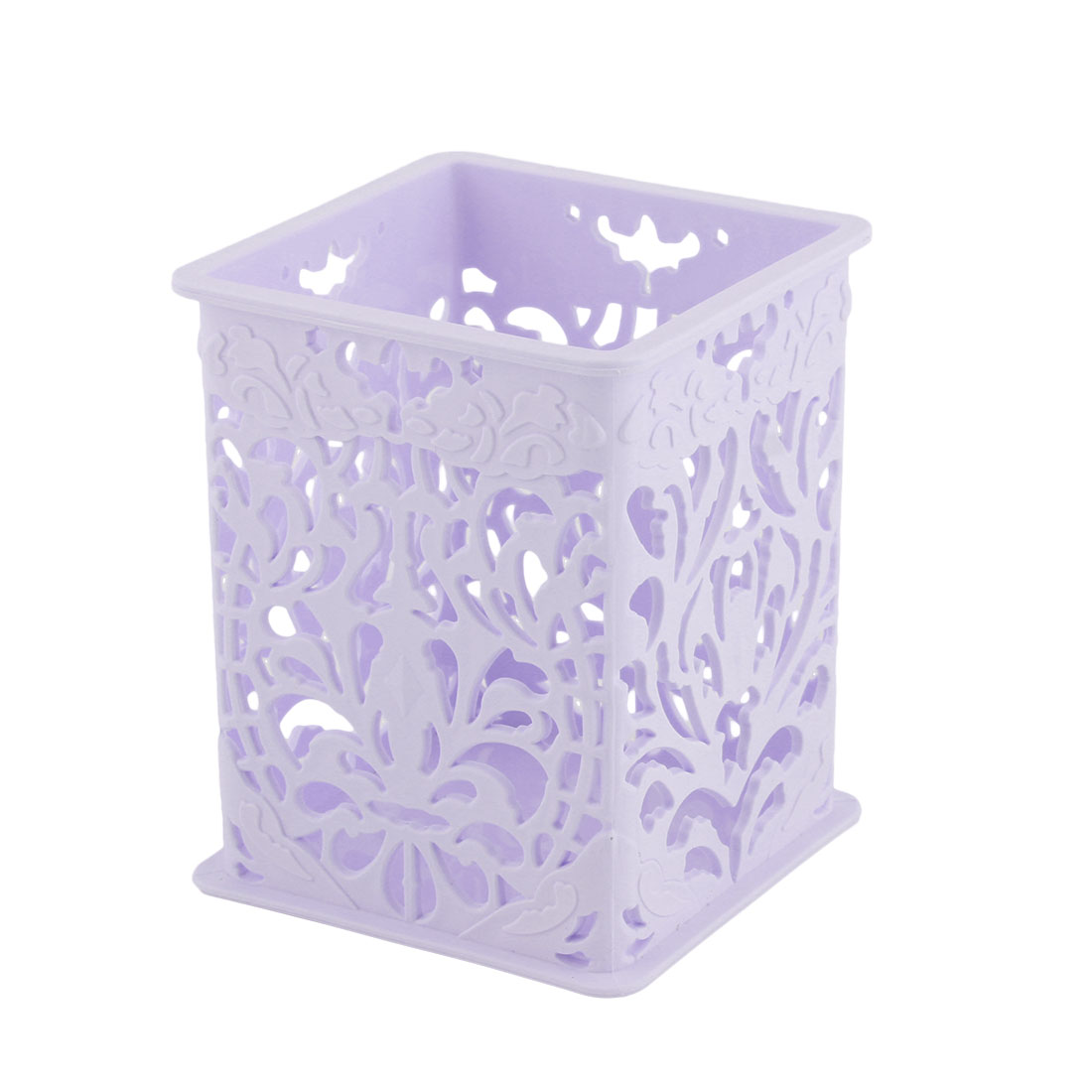 Office Desk Plastic Hollow Out Design Stationery Storage Basket Container Purple