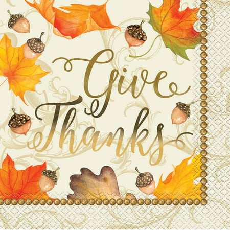 Fall Leaves Thanksgiving Paper Luncheon Napkins, 6.5 in, Gold Foil, 16ct](Thanksgiving Napkins Paper)