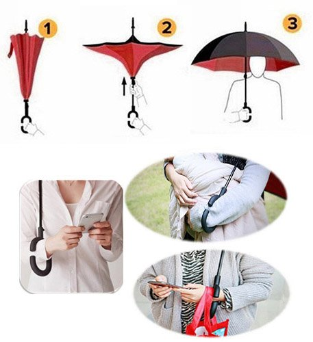 C-Shape Hands-Free Handle for Car Rain Sun Zombie Kiss Couple Tongue Large Inverted Double Layer Reverse Folding Umbrella