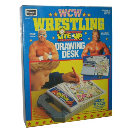 WCW Wrestling Lite Up RoseArt (1991) Drawing Desk Vintage WWE WWF Toy (Wwe 1991)