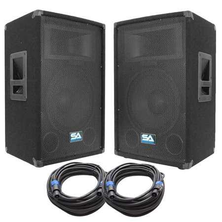 seismic audio pair of 12 pa dj loudspeakers and 50 39 speaker cables 12 club party speakers. Black Bedroom Furniture Sets. Home Design Ideas