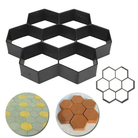 Garden DIY Hexagon Plastic Path Maker Model Concrete Stepping Stone Cement Mould Brick Patio Concrete Slabs Path Garden Walk Maker Mould ()