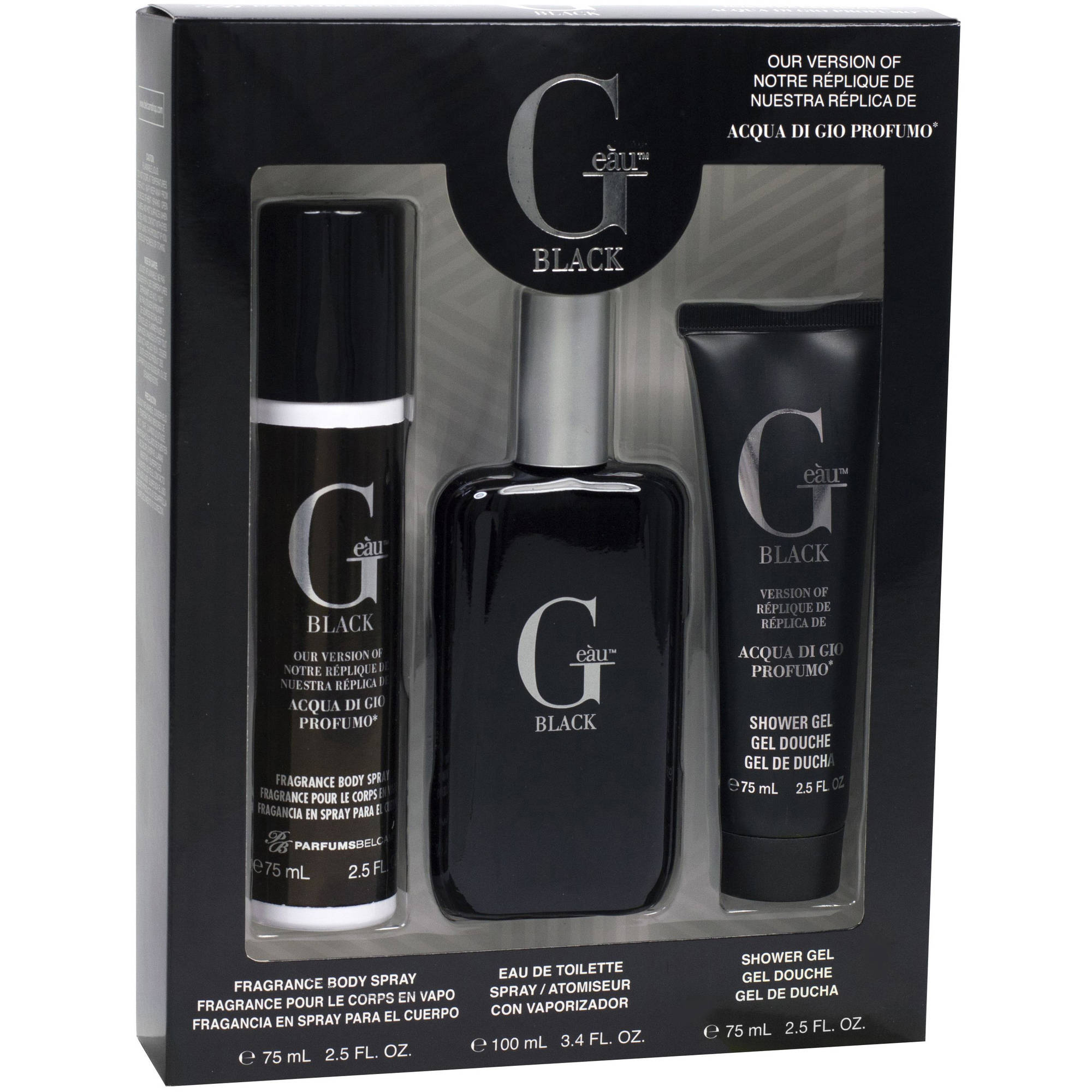 G Eau Black Version of Acqua di Gio Profumo for Men Fragrance Gift Set, 3 pc