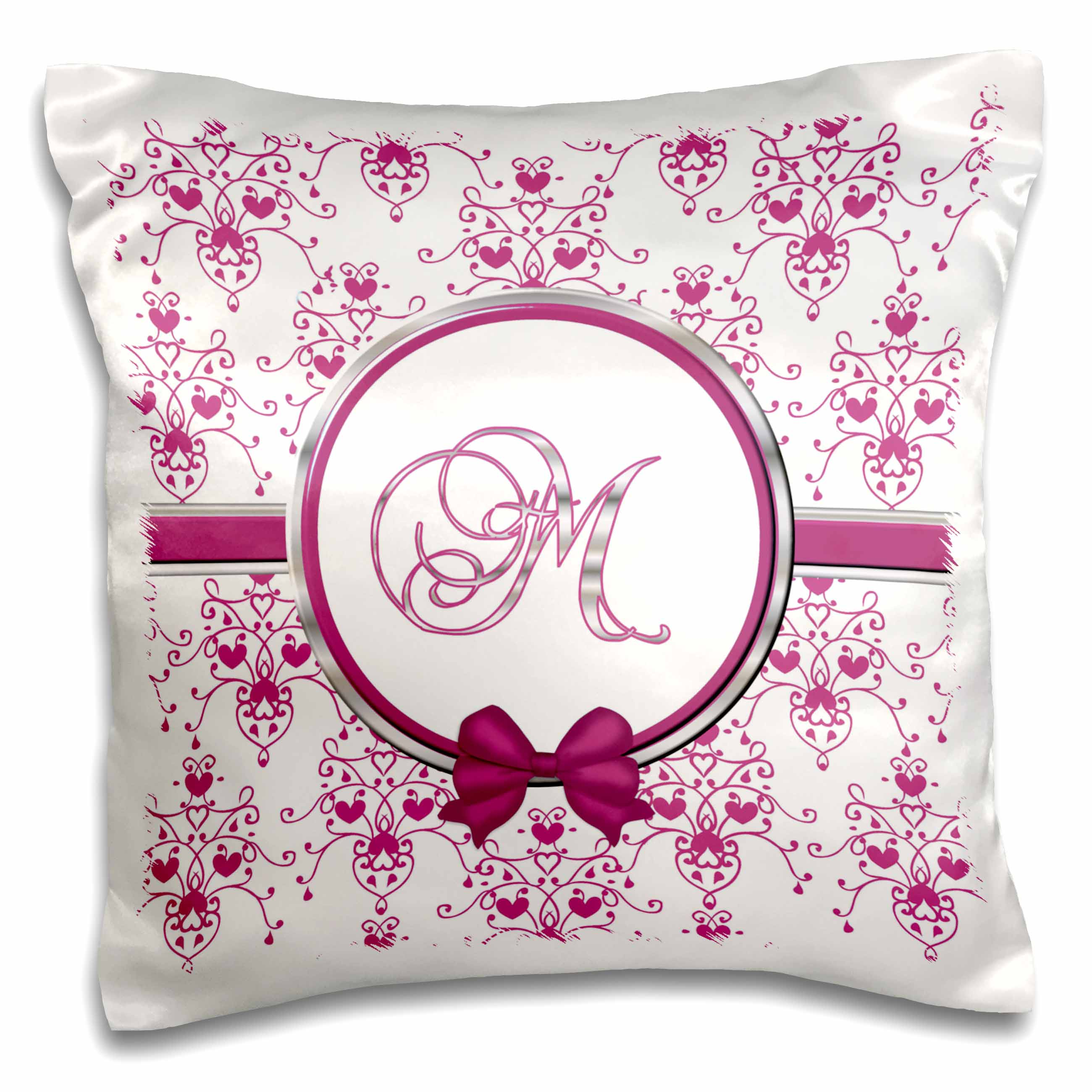3dRose Elegant Pink and Silver Heart Damask Monogram Letter M, Pillow Case, 16 by 16-inch