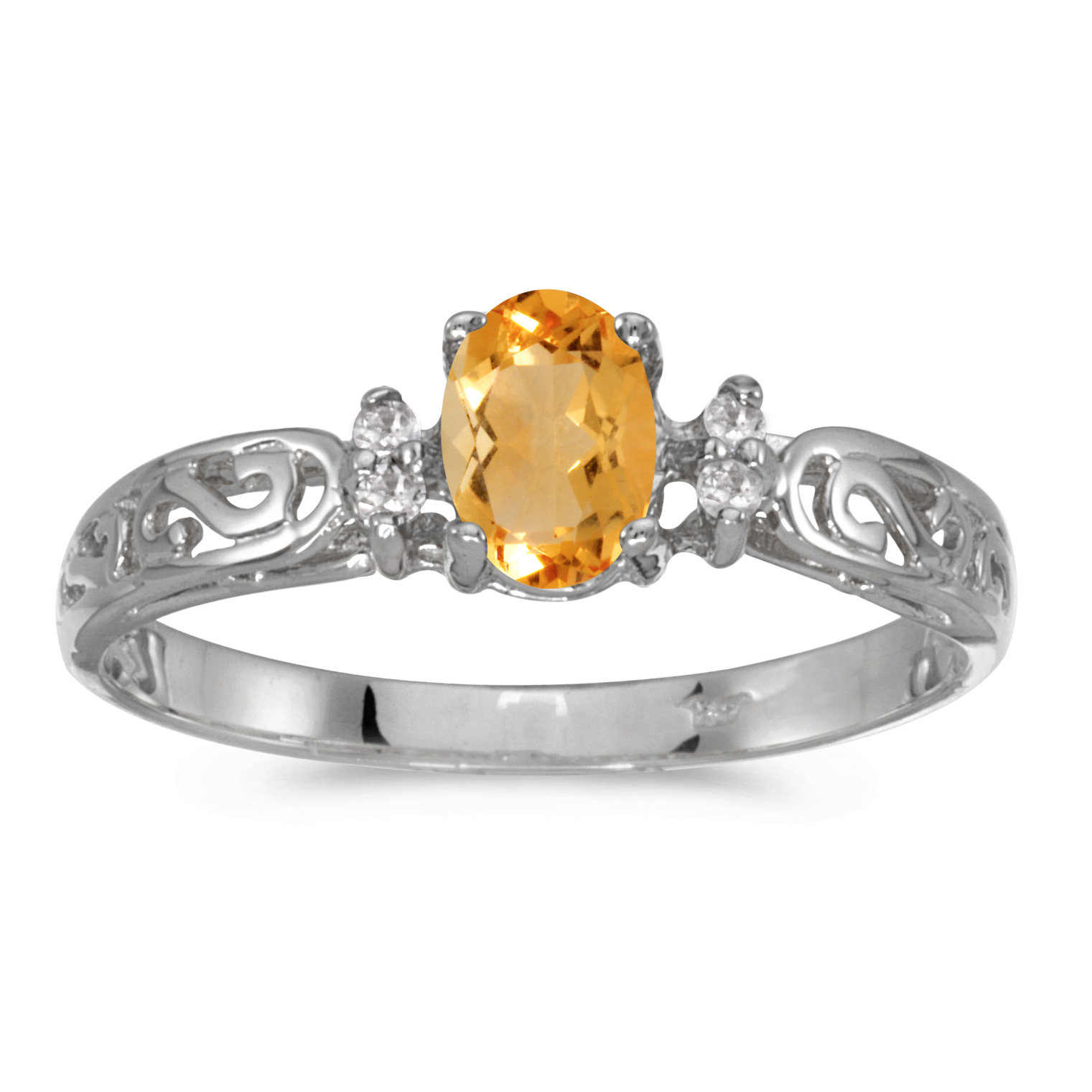 14k White Gold Oval Citrine And Diamond Filagree Ring by