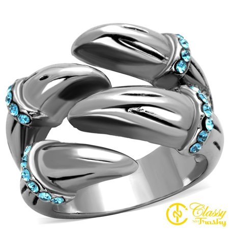 Classy Not Trashy® Women's Stainless Steel Sapphire Crystal Claw Style Ring - Size 9 ()
