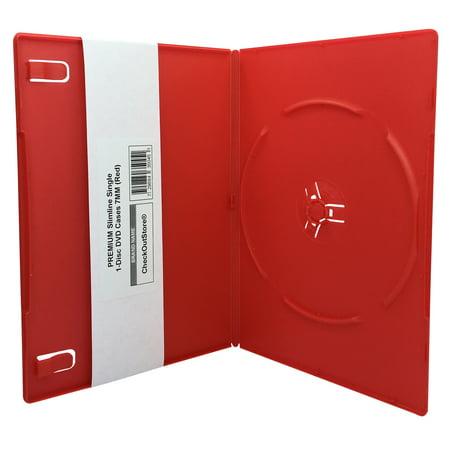 (50) CheckOutStore® PREMIUM Slimline Single 1-Disc DVD Cases 7mm (Red)