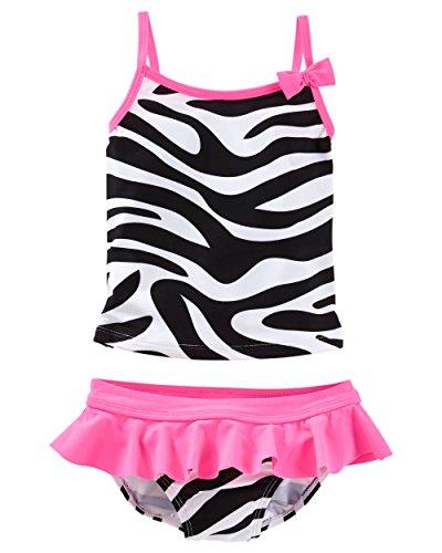 OshKosh B'gosh Little Girls' Zebra Print Tankini, 4 Kids