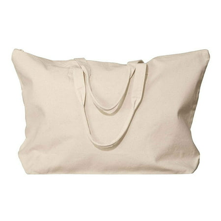 Ultraclub Canvas Interior Pocket Gusset Zippered Tote Bag, Style 8863 (Gusset Tote)