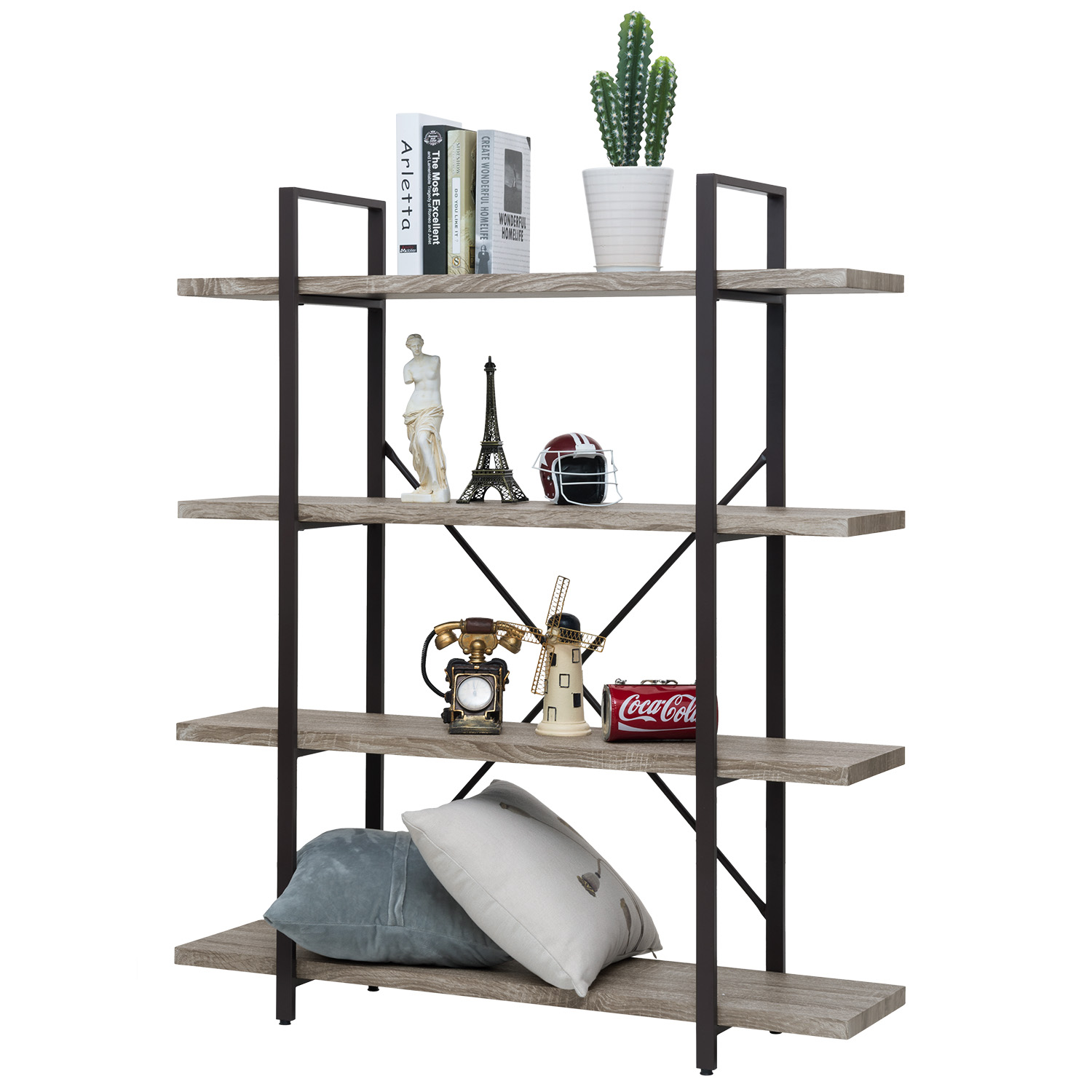 Ollieroo 4 Tier Rustic Vintage Bookcase Industrial Bookshelf, Grain Wood and Metal Shelves Furniture