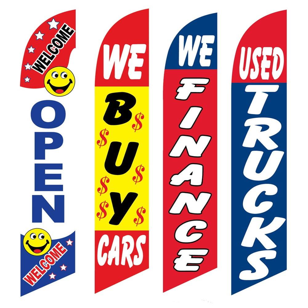 4 Advertising Swooper Flags Open We Buy Cars We Financed Used Trucks