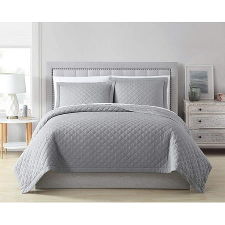 Chezmoi Collection Owen 3-Piece Diamond Quilted Rayon from Bamboo Bedspread Coverlet Set ()