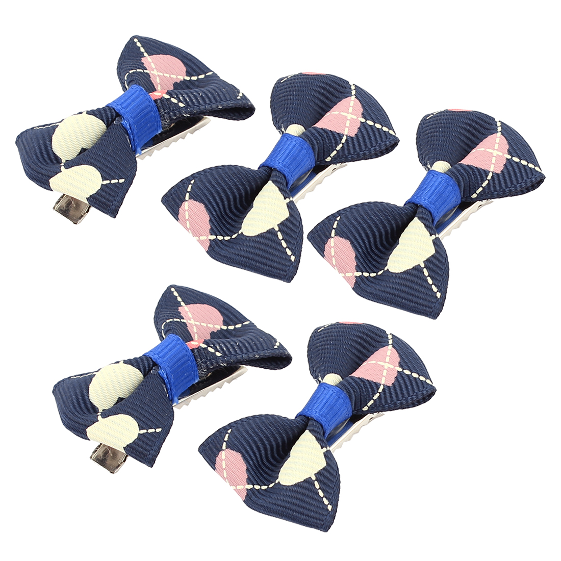 Pet Dog Puppy Heart Pattern Grooming Hairpin Barrette Clip 5 Pcs Blue