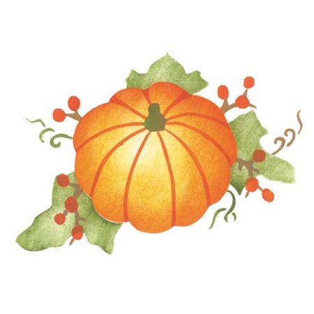 Small Pumpkin with Leaves / Berries Wall Stencil SKU #3141A by Designer Stencils - Easy Pumpkin Stencils