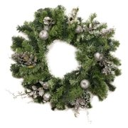 Christmas Central 24 in. Decorated Silver Fruit Holly Berry and Leaf Unlit Wreath