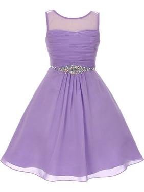 f5c31b3ee91 Product Image Little Girls Lilac Glitter Rhinestone Chiffon Flower Girl  Dress 4-6. Cinderella Couture