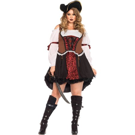 Leg Avenue Women's Plus-Size Ruthless Pirate Wench Costume, Multi, 1X (Plus Size Ladies Pirate Costume)