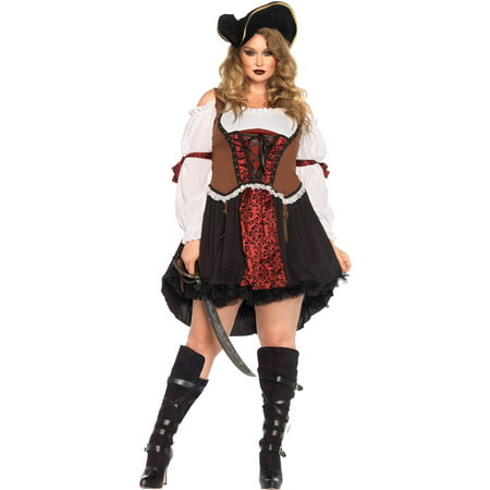 Leg Avenue Women's Plus-Size Ruthless Pirate Wench Costume, Multi, - Women's Plus Size Pirate Costume