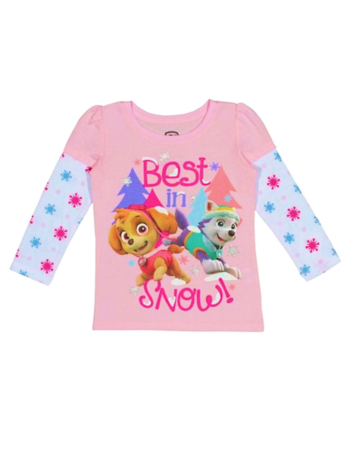 Paw Patrol Toddler Girl Pink Best In Snow! Holiday T-Shirt Skye Everest Shirt