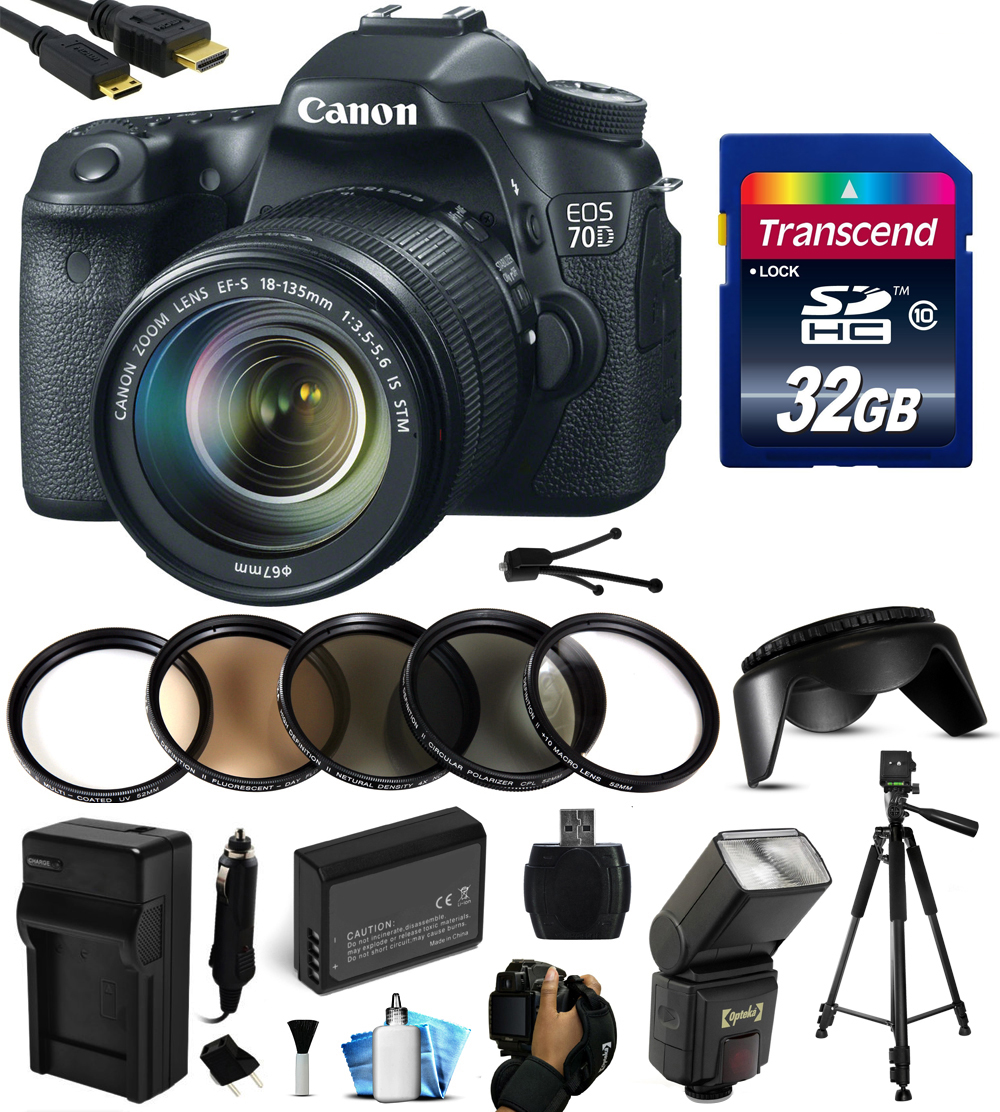 Canon EOS 70D Digital SLR Camera with 18-135mm STM Lens with 32GB Memory + Flash + Battery + Charger + UV-CPL-FL-ND4-10x Macro Filters + Grip Strap + HDMI Cable + Cleaning Kit 8469B016