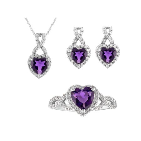 Sterling Silver Created Amethyst Heart, Pendant, Earring, Ring 3pc Set